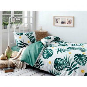 Set lenjerie de pat si cearsaf din bumbac Rassido Jungle, 160 x 220 cm