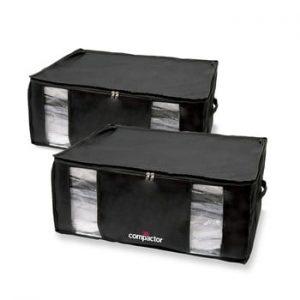 Set 2 cutii de depozitare cu vid Compactor Black Edition XXL, 50 x 26,5 cm, negru