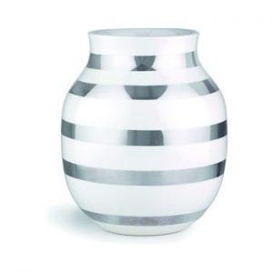 Vaza din gresie ceramica cu detalii argintii Kähler Design Omaggio, inaltime 20 cm, alb