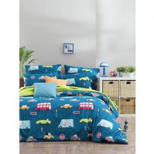 Lenjerie de pat cu cearsaf din bumbac ranforce, pentru pat dublu Mijolnir Paula Blue, 200 x 220 cm