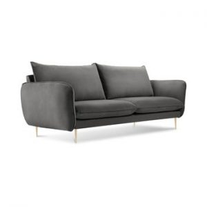 Canapea cu tapiterie din catifea Cosmopolitan Design Florence, gri inchis