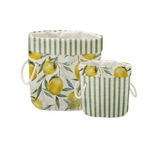 Set 2 cosuri decorative Linen Lemons And Stripes