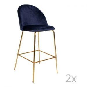 Set 2 scaune bar tapitate House Nordic Lausanne, albastru-aramiu