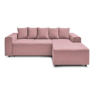 Canapea extensibila cu extensie pe partea dreapta Bobochic Paris FARO, roz deschis