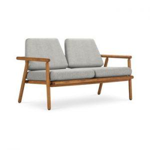 Canapea cu 2 locuri pentru exterior, constructie lemn masiv de salcam Calme Jardin Capri Premium, gri