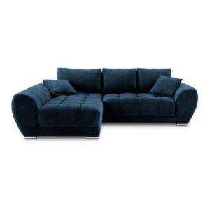 Canapea extensibila cu invelis de catifea Windsor & Co Sofas Nuage, pe partea stanga, albastru