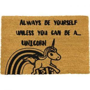 Covoras intrare din fibre de cocos Artsy Doormats Unicorn, 40 x 60 cm