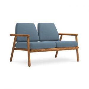 Canapea cu 2 locuri pentru exterior, constructie lemn masiv de salcam Calme Jardin Capri, albastru