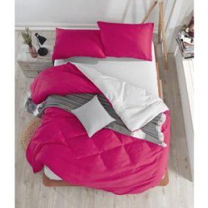 Lenjerie si cearsaf pentru pat dublu Permento Ladida, 200 x 220 cm