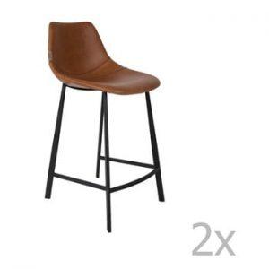 Set 2 scaune bar Dutchbone Franky, inaltime 91 cm, maro
