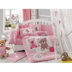 Lenjerie de pat cu cearsaf Ponpon Pink, 100 x 150 cm