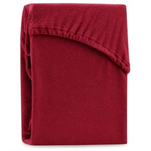 Cearsaf elastic pentru pat dublu AmeliaHome Ruby Dark Red, 180-200 x 200 cm, rosu inchis