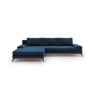 Canapea extensibila cu invelis de catifea Windsor & Co Sofas Astre, pe partea stanga, albastru