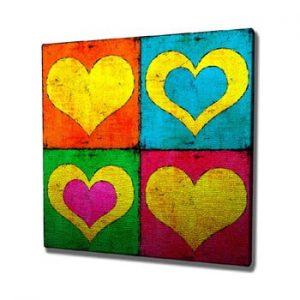 Tablou pe panza Color Hearts, 45 x 45 cm