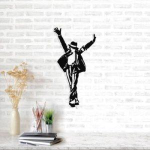Decoratiune metalica de perete Michael Jackson, 36 x 69 cm, negru