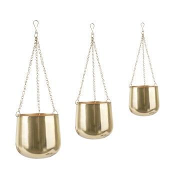 Set 3 ghivece din fier, suspendate PT LIVING Cask, auriu