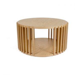 Masuta auxiliara din lemn de stejar Woodman Drum, ø 83 cm