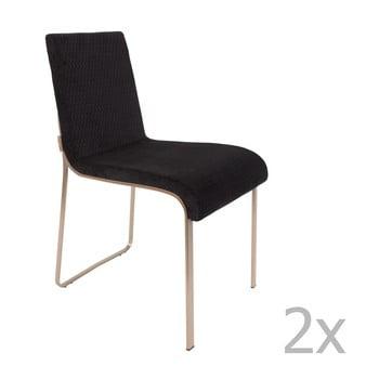 Set 2 scaune Dutchbone Fiore, negru