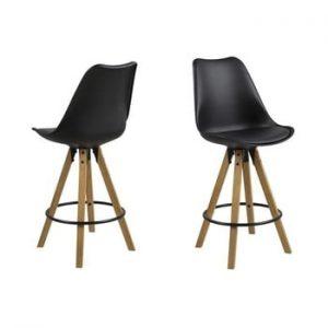 Scaun cu baza din lemn de cauciuc Actona Dima, negru