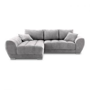 Canapea extensibila cu invelis de catifea Windsor & Co Sofas Nuage, pe partea stanga, gri deschis