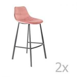 Set 2 scaune bar cu tapiterie catifelata Dutchbone, inaltime 106 cm, roz