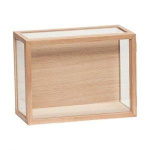 Cutie de depozitare din sticla cu cadru de stejar Hübsch Pargo