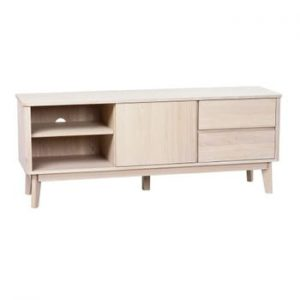 Masa TV din lemn de stejar alb Yumi Rowico
