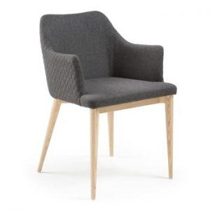 Scaun cu picioare din lemn si cotiere La Forma Danai, gri inchis