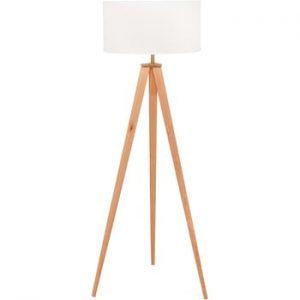 Lampadar cu picioare din lemn loomi.design Karol, alb-natural