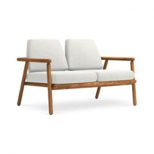 Canapea cu 2 locuri pentru exterior, constructie lemn masiv de salcam Calme Jardin Capri, gri deschis