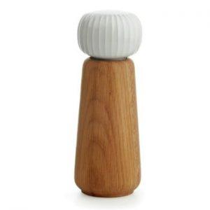 Rasnita din lemn pentru sare/piper Kähler Design Hammershoi, mare, alb