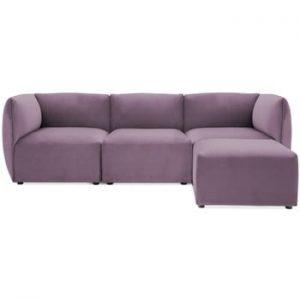 Canapea modulara cu 3 locuri si suport pentru picioare Vivonita Velvet Cube, mov lila