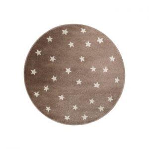 Covor rotund KICOTI Stars, ø 80 cm, maro-alb