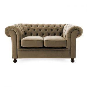 Canapea cu 2 locuri Vivonita Chesterfield, bej - gri