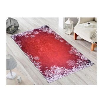 Covor Vitaus Snowflakes, 80 x 200 cm, rosu-alb