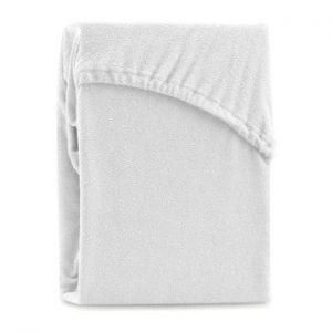 Cearsaf elastic pentru pat dublu AmeliaHome Ruby White, 200-220 x 200 cm, alb