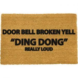Covoras intrare din fibre de cocos Artsy Doormats Yell Ding Dong, 40 x 60 cm