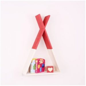 Raft de perete din lemn North Carolina Scandinavian Home Decors Teepee, inaltime 45 cm, rosu