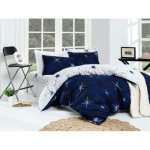 Lenjerie si cearsaf din amestec de bumbac pentru pat dublu Megastar Dark Blue, 200 x 220 cm
