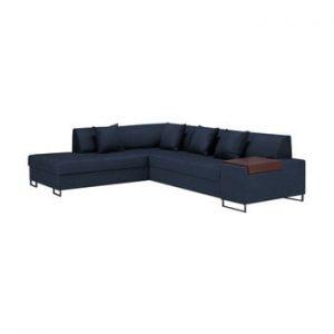 Canapea extensibila pe colt cu picioarele de culoare neagra Cosmopolitan Orlando, pe partea stanga, albastru