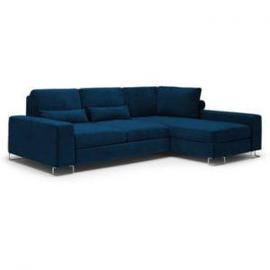 Canapea extensibila cu invelis de catifea Windsor & Co Sofas Diane, pe partea dreapta, albastru