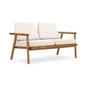 Canapea cu 2 locuri pentru exterior, constructie lemn masiv de salcam Calme Jardin Capri Premium, alb