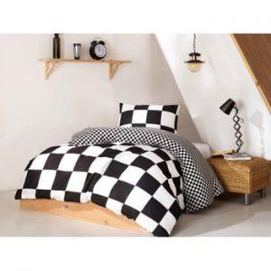 Set lenjerie si cearsaf din bumbac pentru pat single Prune, 160 x 220 cm