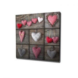 Tablou pe panza Hearts, 45 x 45 cm