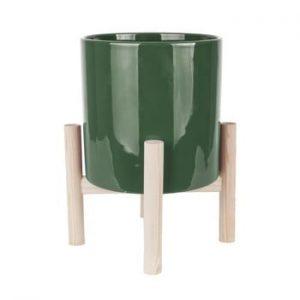 Ghiveci din ceramica pe suport din lemn de pin PT LIVING Trestle, verde