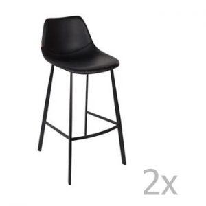 Set 2 scaune bar Dutchbone Franky, inaltime 106 cm, negru