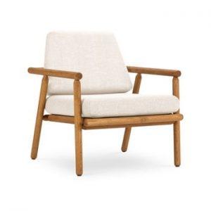 Fotoliu pentru exterior, constructie lemn masiv de salcam Calme Jardin Capri Premium, alb