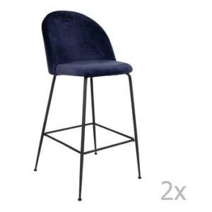 Set 2 scaune bar tapitate House Nordic Lausanne, albastru-negru