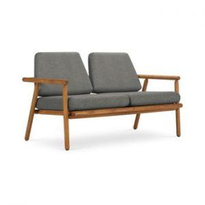 Canapea cu 2 locuri pentru exterior, constructie lemn masiv de salcam Calme Jardin Capri Premium, gri inchis