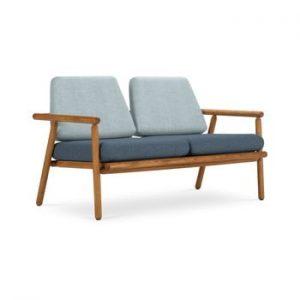 Canapea cu 2 locuri pentru exterior, constructie lemn masiv de salcam Calme Jardin Capri Premium, albastru deschis - albastru inchis